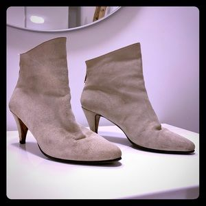 Vintage Cream Suede Booties, SIZE 39